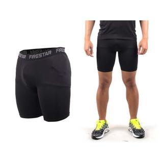 【FIRESTAR】男機能緊身短褲-慢跑 路跑 運動短褲(黑)