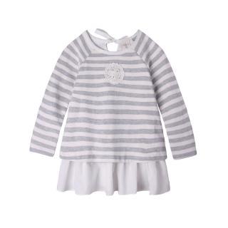 【baby童衣】大小女童上衣 長袖條紋假兩件上衣裙 50458(灰色條紋)