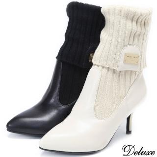 【Deluxe】全真皮帥氣性感秋日浪漫細跟短靴(白★黑)