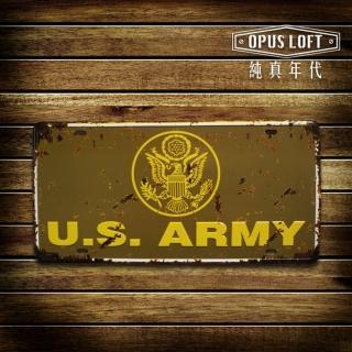 【OPUS LOFT純真年代】仿舊鐵皮車牌/壁飾/壁貼(TP-114 美國陸軍)