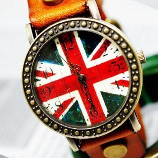 【BOBO】復古英倫風情皮革錶(橘 FFQ-1886)