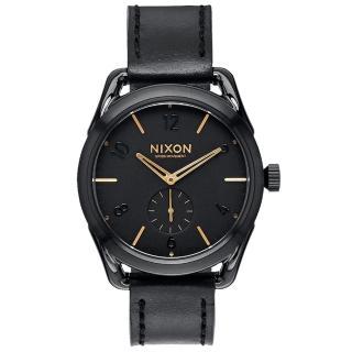 【NIXON】C39 LEATHER 跟隨自我潮流中性錶-金線x黑x小(A459010)