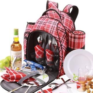 【Yodo】英倫格紋四人野餐後背包-含餐具/野餐墊
