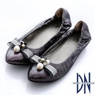 【DN】優雅MIT 蝴蝶結珠光羊皮內增高娃娃鞋(紫灰)