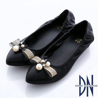 【DN】優雅MIT 蝴蝶結珠光羊皮內增高娃娃鞋(黑)