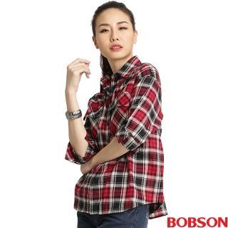 【BOBSON】女款寬版格紋長袖襯衫(32124-15紅)