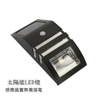 LED 太陽能 感應照明 戶外壁燈(黑色)