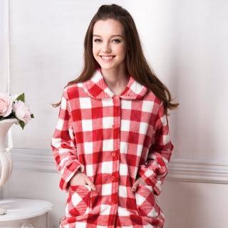 【羅絲美睡衣】經典紅白格紋暖冬褲裝睡衣(紅白格)