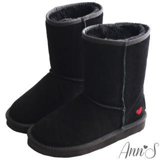 【Ann'S】甜美刺繡愛心2way可愛真皮雪靴(黑)