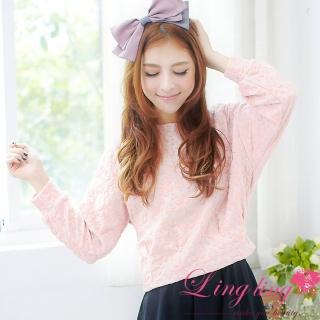 【lingling】抓摺擺立體花朵壓紋上衣PA1848(清新粉)