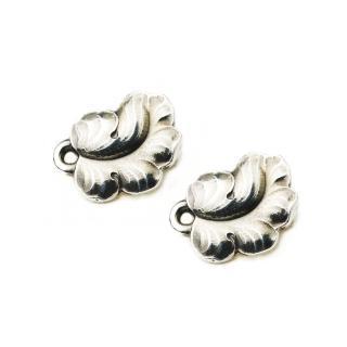 【Georg Jensen】#50B 純銀葡萄葉 夾式耳環