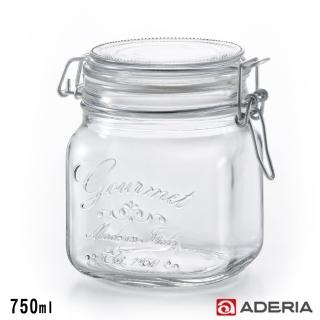 【ADERIA】日本進口密封寬口方形玻璃沙拉罐(750ml)