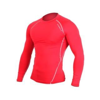 【HODARLA】男肌動圓領長袖T緊身衣 -台灣製 T恤 籃球 慢跑 重訓健身(紅)