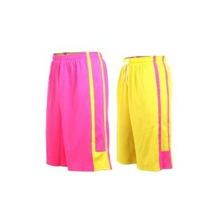 【INSTAR】男女雙面穿籃球褲-運動短褲 台灣製(桃紅黃)