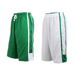 【INSTAR】男女雙面穿籃球褲-運動短褲 台灣製(綠白)
