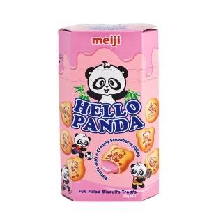 【明治】貓熊夾心餅乾-草莓口味50g(草莓)