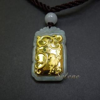 【Selene 珠寶】金鑲玉12生肖墜- 馬(A貨翡翠341905)