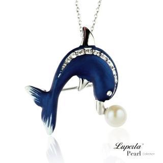 【大東山珠寶】施華洛世奇珍珠項鍊胸針兩用款 別針 領釦 提包 圍巾配飾(海豚灣之戀)