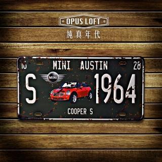 【OPUS LOFT純真年代】仿舊鐵皮車牌/壁飾/壁貼(TP-015 mini cooper)