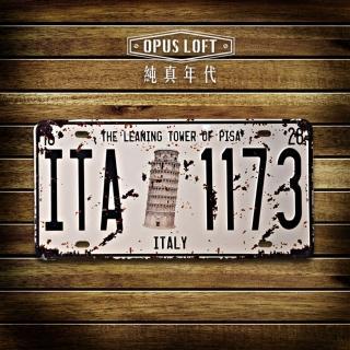 【OPUS LOFT純真年代】仿舊鐵皮車牌/壁飾/壁貼(TP-025 比薩斜塔)