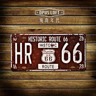 【OPUS LOFT純真年代】仿舊鐵皮車牌/壁飾/壁貼(TP-027 歷史66號公路)