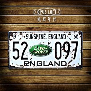 【OPUS LOFT純真年代】仿舊鐵皮車牌/壁飾/壁貼(TP-075 LAND ROVER)