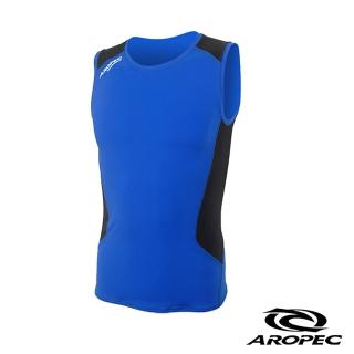 【AROPEC】Compression II 男款運動機能壓力衣(背心 藍/黑)