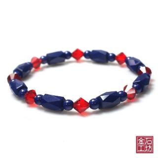 【金石工坊】青金石手鍊-繽紛色彩奧地利紅水晶