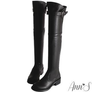 【Ann'S】美腿曲線花苞釦帶貼腿過膝長靴(黑)