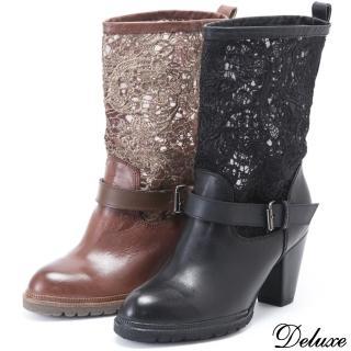 【Deluxe】全真皮英倫感拼接帥氣優雅中筒靴(咖★黑)