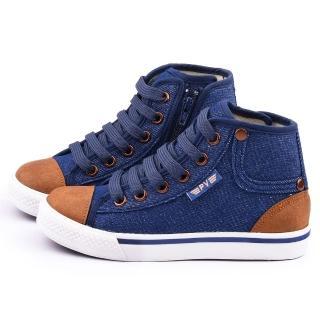 【童鞋城堡】二等兵 中大童 英倫風格帆布鞋(5919-藍)