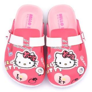 【三麗鷗】Hello Kitty 中大童 活潑俏皮軟木風格拖鞋(815782-桃)