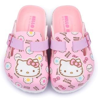 【三麗鷗】Hello Kitty 中大童 甜美可愛軟木風格拖鞋(815781-粉)