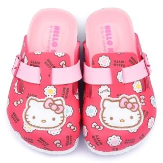 【三麗鷗】Hello Kitty 中大童 甜美可愛軟木風格拖鞋(815781-桃)