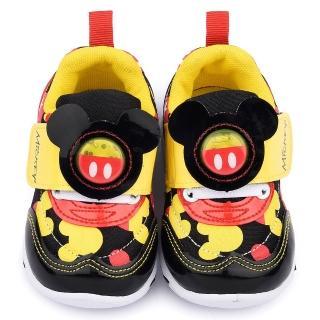 【童鞋城堡】迪士尼 中童 米奇造型LED電燈運動鞋(453056-黑)