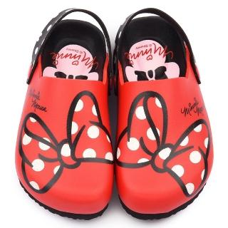 【童鞋城堡】迪士尼 中大童 米妮蝴蝶結軟木風格拖鞋(453927-紅)