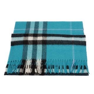【BURBERRY】經典格紋喀什米爾羊毛圍巾(土耳其藍3978135-DUSTY-TEAL)