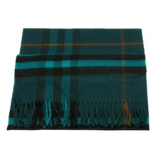 【BURBERRY】經典格紋喀什米爾羊毛圍巾(孔雀藍3978255-DARK-TEAL)