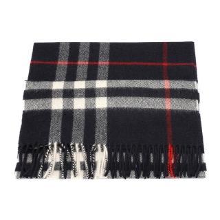 【BURBERRY】經典格紋喀什米爾羊毛圍巾(海軍藍3993734-NAVY)