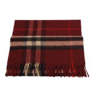 【BURBERRY】經典格紋喀什米爾羊毛圍巾(酒紅色3826754-CLARET-CHECK)