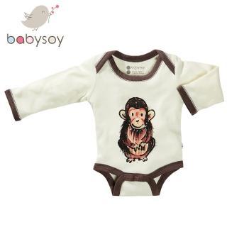【美國 Babysoy】Janey Baby  有機棉長袖包屁衣606(猩猩)