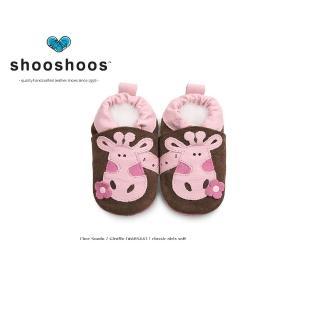 【英國 shooshoos】安全無毒真皮手工鞋/學步鞋/嬰兒鞋_棕色/粉紅長頸(公司貨)
