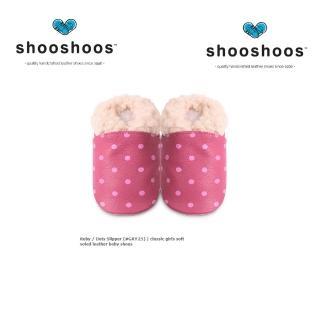 【英國 shooshoos】安全無毒真皮手工鞋/學步鞋/嬰兒鞋_桃紅點點毛毛(公司貨)