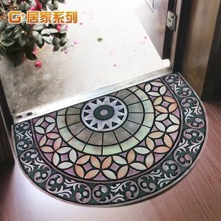 【居家G+】古典雕花橡膠植絨迎賓戶外地墊(招財進寶)