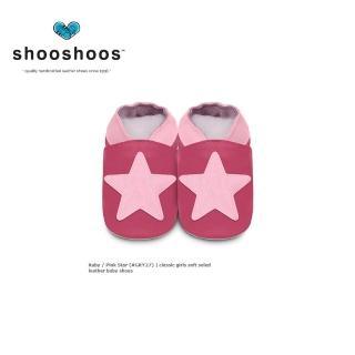 【英國 shooshoos】安全無毒真皮手工鞋/學步鞋/嬰兒鞋_桃紅大星星(公司貨)