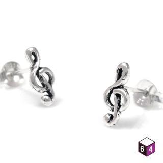 【ART64】耳環 高音譜號 925純銀耳環 高音譜記號
