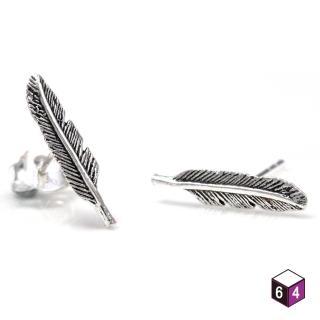 【ART64】耳環 羽 925純銀耳環 羽毛造型