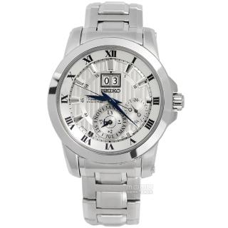 【SEIKO 精工】Premier人動電能不鏽鋼腕錶 銀色41mm(7D56-0AB0S.SNP091J1)