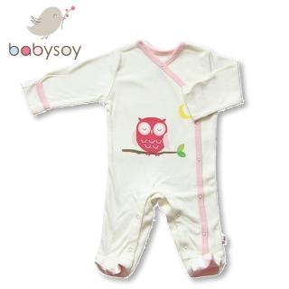 【美國 Babysoy】有機棉開襟式長袖袖口反折包腳連身衣500(粉邊貓頭)