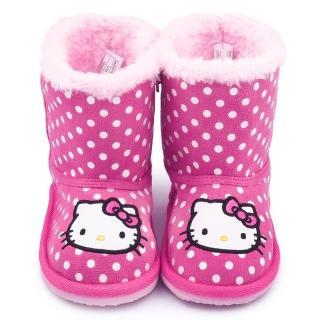 【三麗鷗】Hello Kitty 中童 點點風保暖雪靴(715141-桃紅)